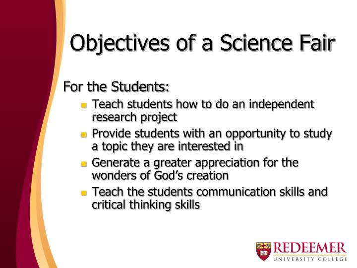 Objectives of a Science Fair