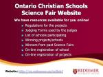 ontario christian schools science fair website