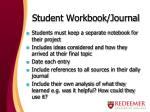student workbook journal