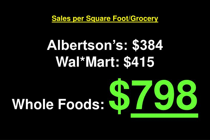 Sales per Square Foot/Grocery