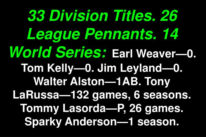 33 Division Titles. 26 League Pennants. 14 World Series: