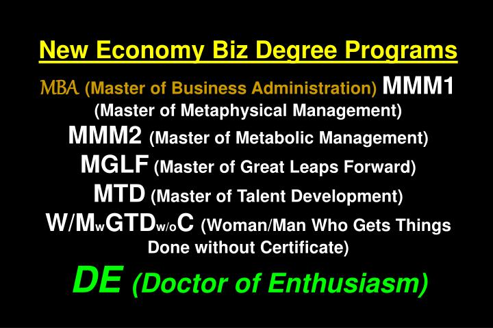New Economy Biz Degree Programs