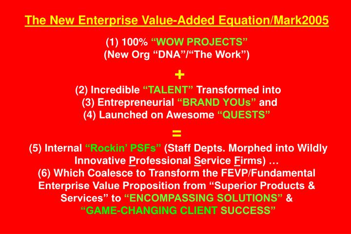 The New Enterprise Value-Added Equation/Mark2005