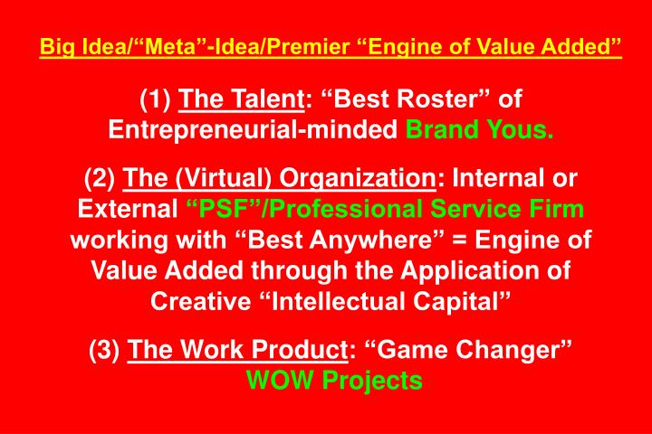 "Big Idea/""Meta""-Idea/Premier ""Engine of Value Added"""