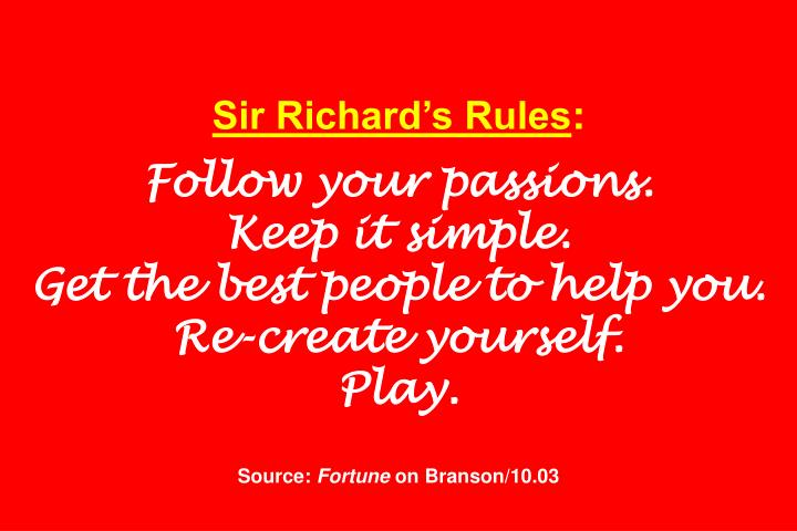 Sir Richard's Rules