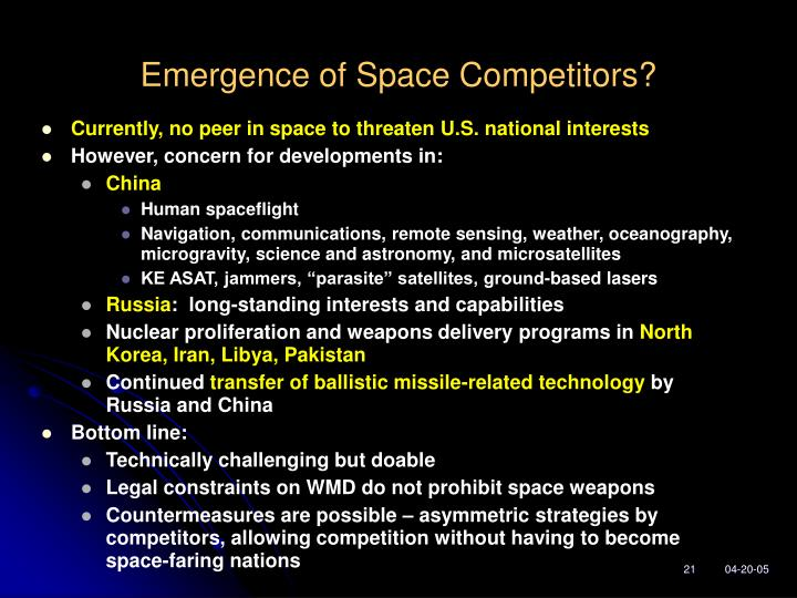 Emergence of Space Competitors?