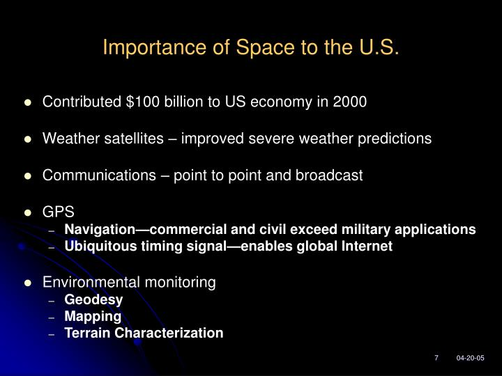 Importance of Space to the U.S.