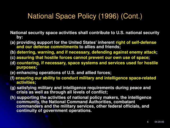 National Space Policy (1996) (Cont.)