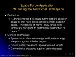 space force application influencing the terrestrial battlespace
