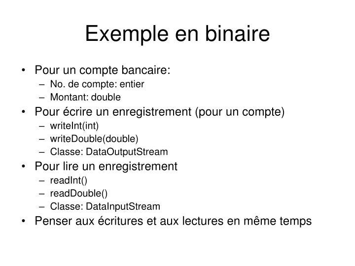 Exemple en binaire