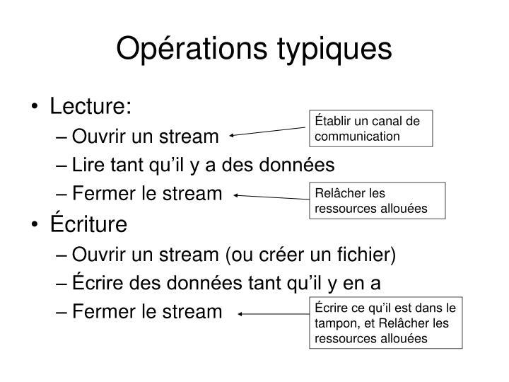 Opérations typiques