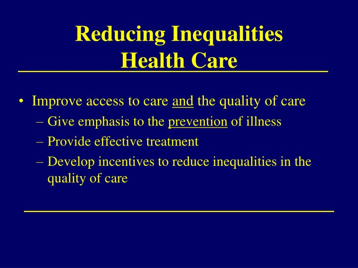 Reducing inequalities health care