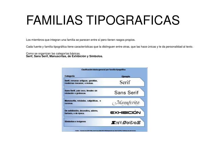 FAMILIAS TIPOGRAFICAS
