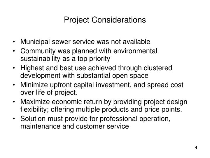 Project Considerations
