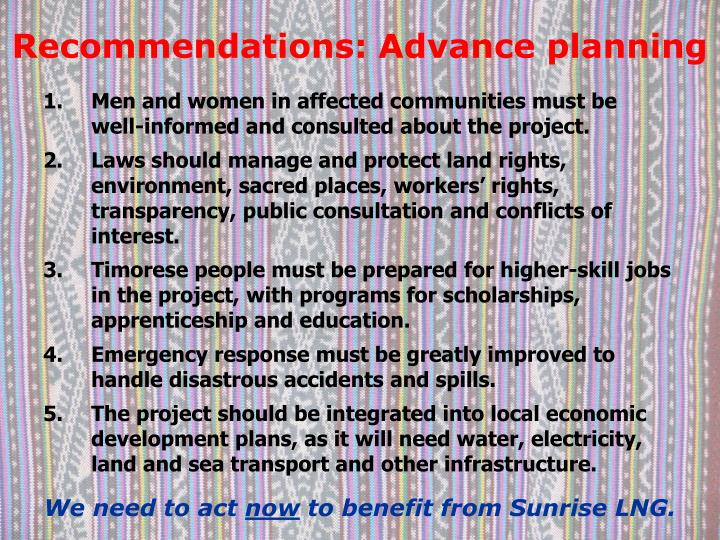 Recommendations: Advance planning