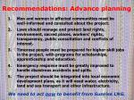 recommendations advance planning