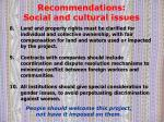 recommendations social and cultural issues