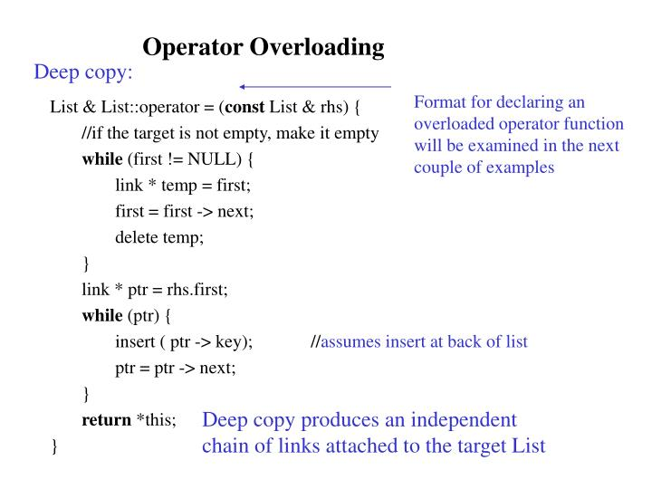 Format for declaring an overloaded operator function will be examined in the next couple of examples