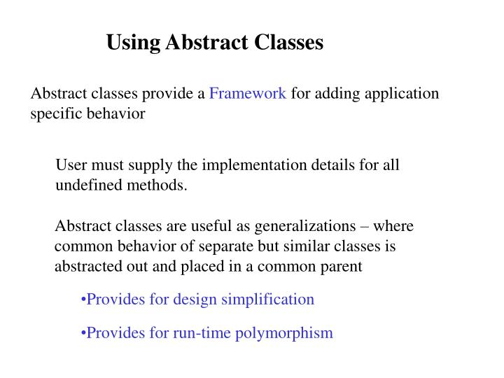 Using Abstract Classes