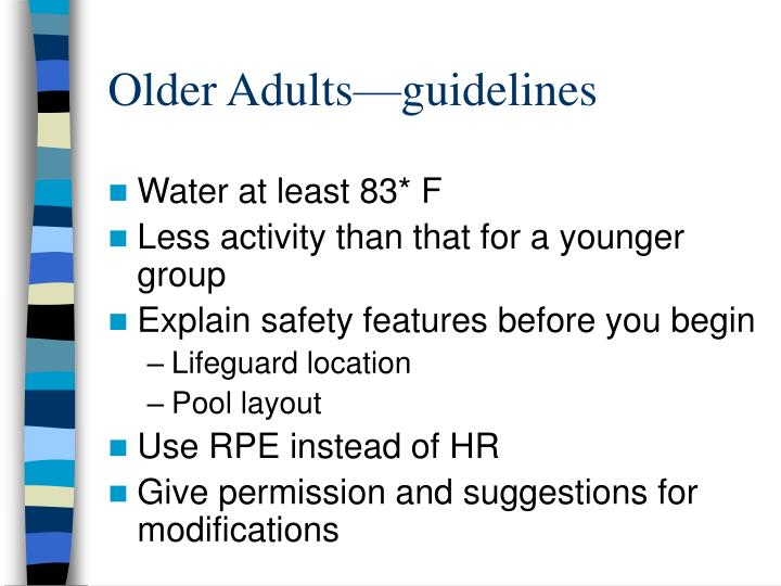 Older Adults—guidelines
