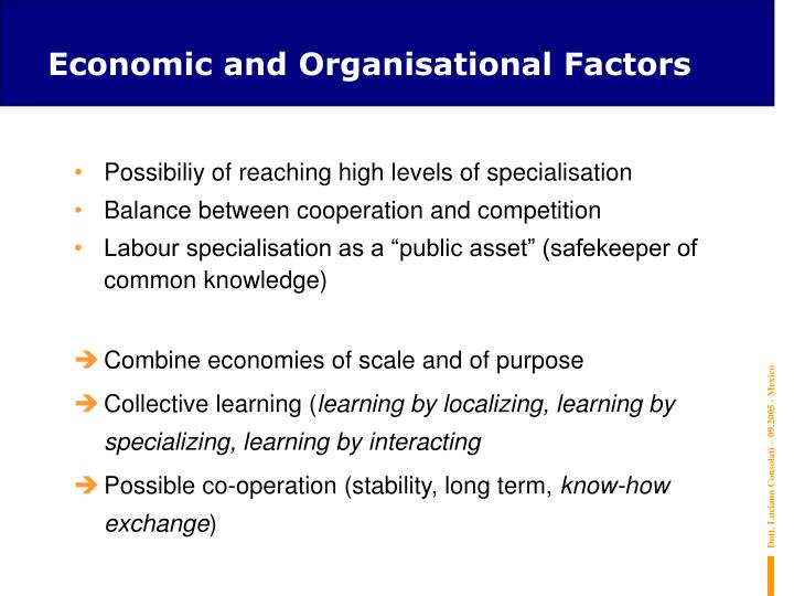 Economic and Organisational Factors