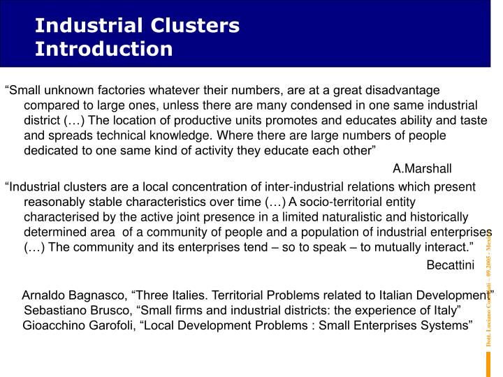 Industrial Clusters   Introduction