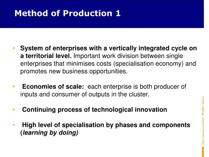 Method of Production 1