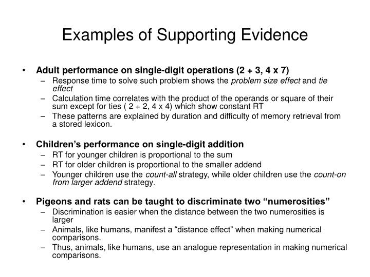 Essay examples of supporting evidence