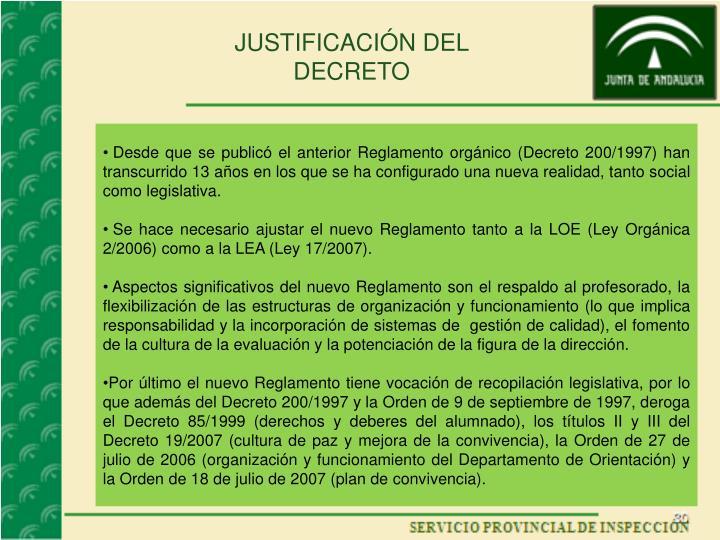 JUSTIFICACIÓN DEL DECRETO