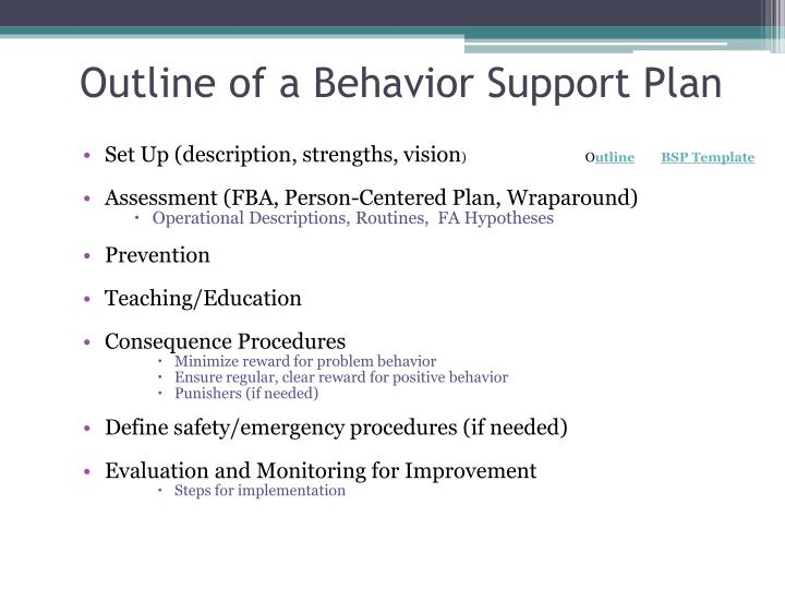 Outline of a Behavior Support Plan