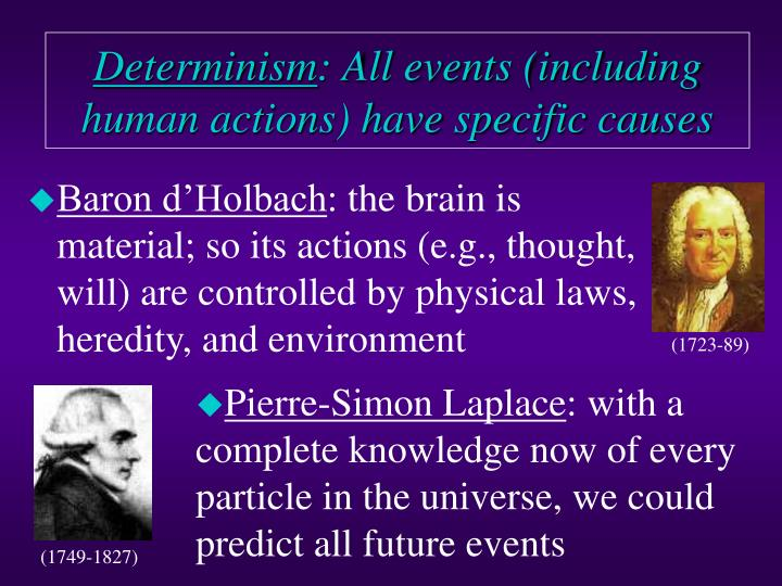Determinism all events including human actions have specific causes