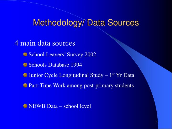 Methodology data sources