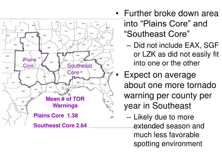 """Further broke down area into """"Plains Core"""" and """"Southeast Core"""""""