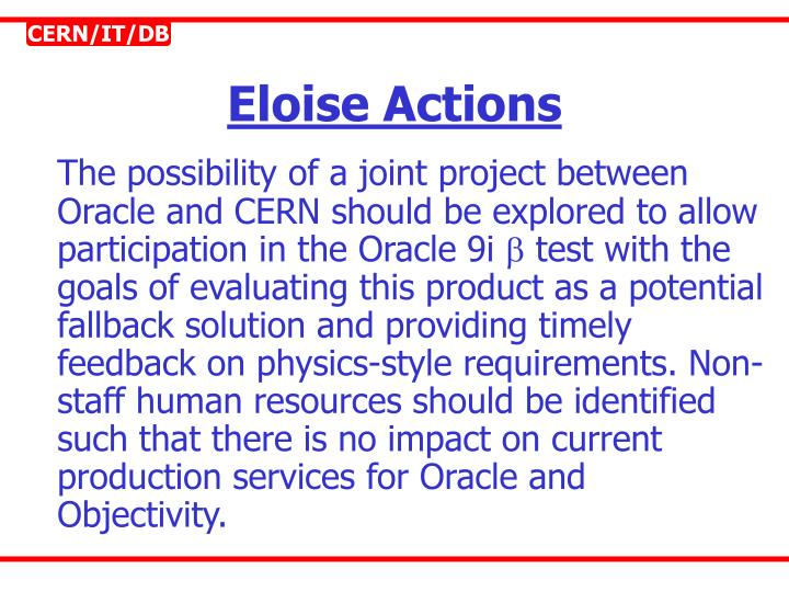 Eloise Actions