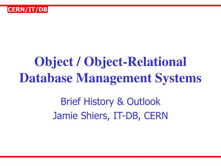 object object relational database management systems