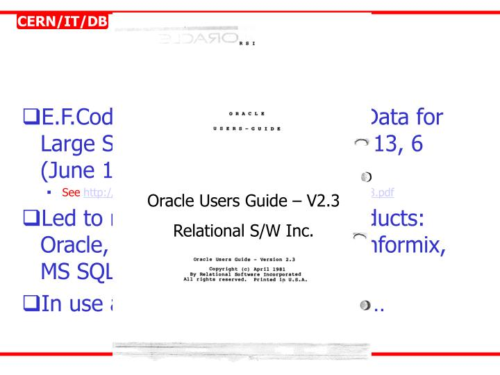 Oracle Users Guide – V2.3