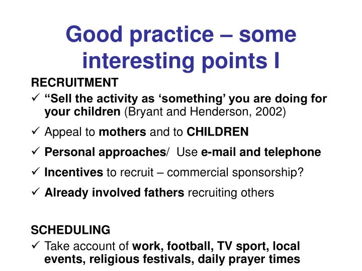 Good practice – some interesting points I