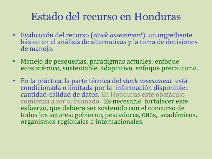 Estado del recurso en Honduras