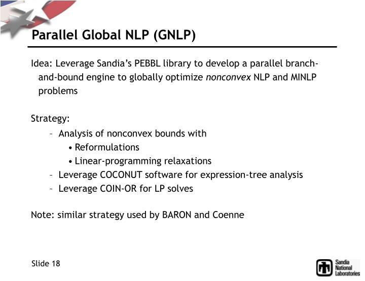 Parallel Global NLP (GNLP)