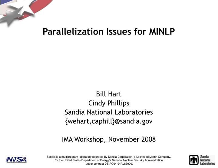 Parallelization Issues for MINLP