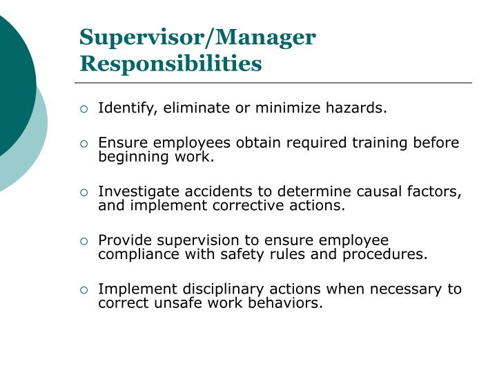 Supervisor/Manager Responsibilities