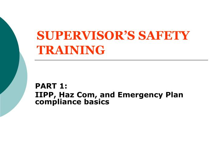 SUPERVISOR'S SAFETY TRAINING