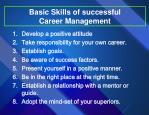 basic skills of successful career management