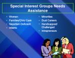special interest groups needs assistance