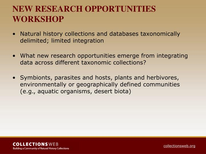 NEW RESEARCH OPPORTUNITIES WORKSHOP