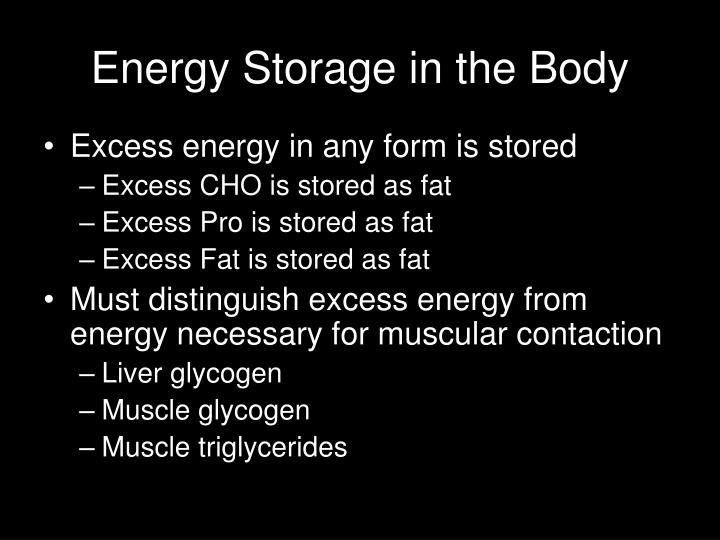 Energy Storage in the Body