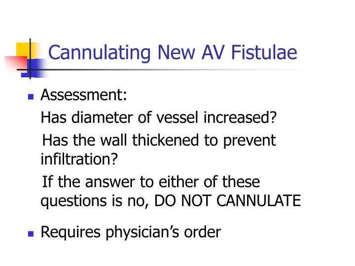 Cannulating New AV Fistulae