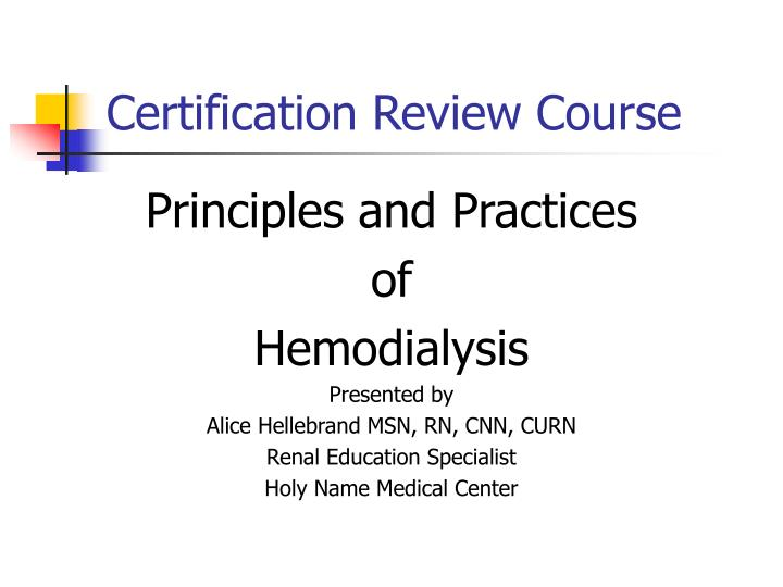 Certification Review Course