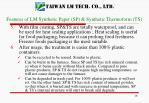 features of lm synthetic paper sp synthetic thermoform ts1
