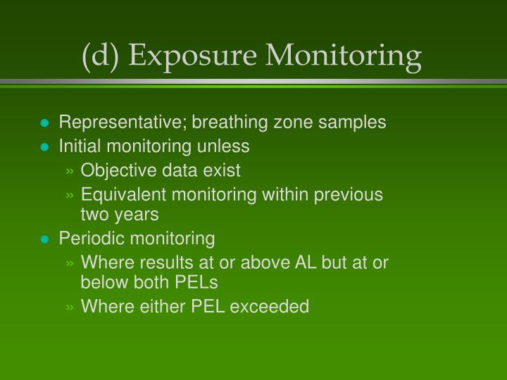 (d) Exposure Monitoring